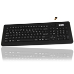 Antibakterielt tr�dl�st vandt�t industri keyboard med mikro USB receiver, sort (NORSK layout)