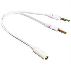 Headset splitter kabel til PC, hvid