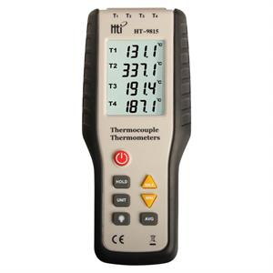 Thermometer med belyst LCD display, 4 kanaler