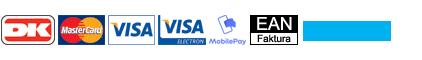Hos US-Shop.nu kan du betale med Betalingskort, Mobile Pay eller via EAN fakturering